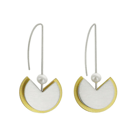 Mar Brushed Sterling Gold Tulip With Pearl Earrings