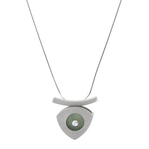 Mar Arrow Drop Sea Glass Pearl Pendant Necklace
