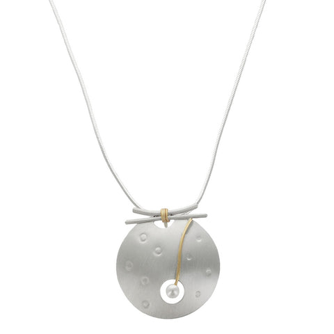 Mar Brushed Sterling Gold Filled Pearl Pendant Necklace