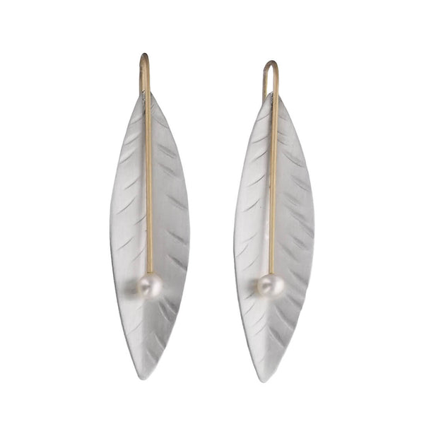 Mar Of Santa Barbara Silver Gold Pearl Leaf Earrings