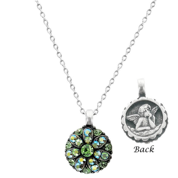 Mariana Crystal Angel Necklace In Green