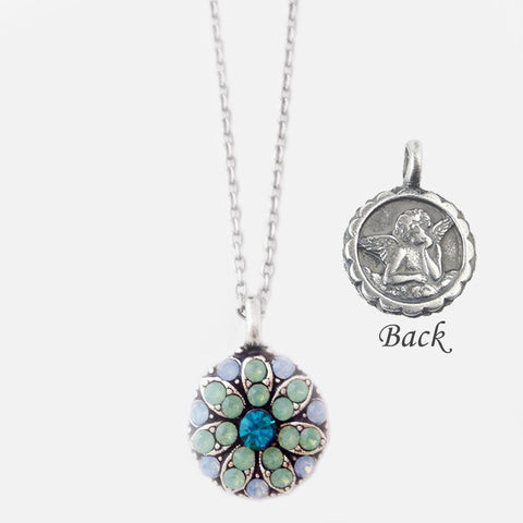 Mariana Crystal Angel Necklace Blue & Light Green