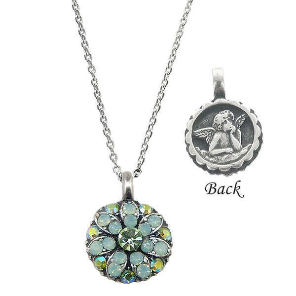 Mariana Guardian Angel Necklace With Green & Blue Crystals