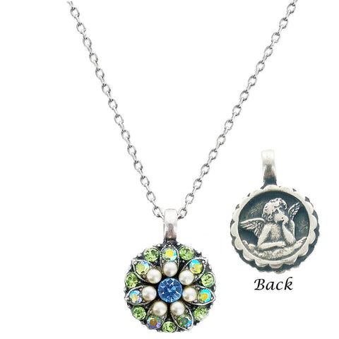 Mariana Crystal Angel Necklace Blue Green & White