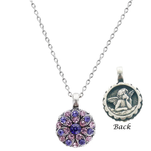 Mariana Purple And Pink Guardian Angel Necklace