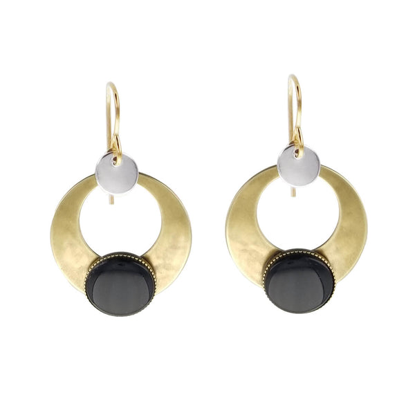 Marjorie Baer Black Onyx Arched Open Disc Hoop Earring