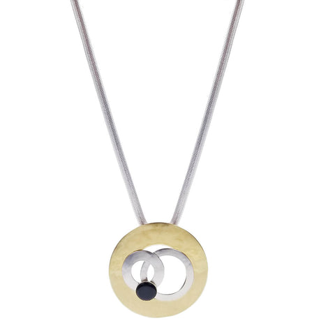 Marjorie Baer Black Onyx Overlapping Rings Pendant Necklace