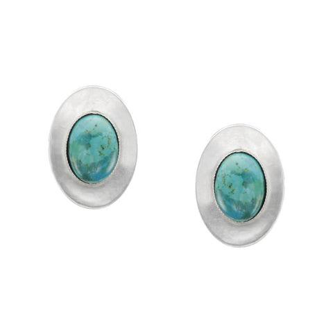 Marjorie Baer Concave Oval Turquoise Gem Earring