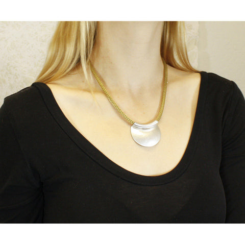 Marjorie Baer Crescent Dome Mesh Chain Necklace Being Worn