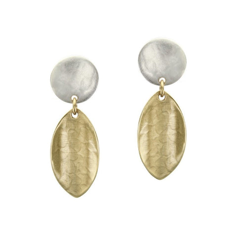 Marjorie Baer Disc Linked Concave Leaf Post Earrings
