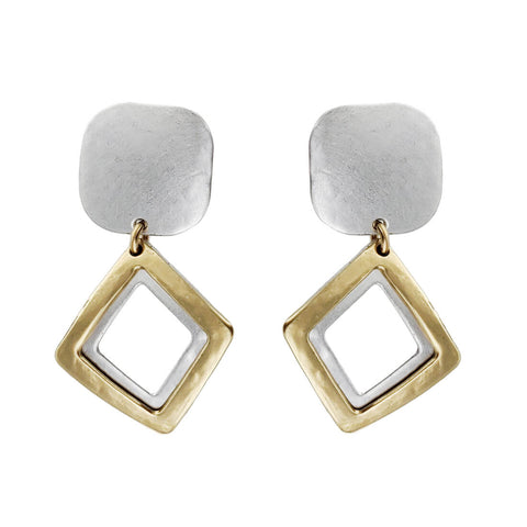 Marjorie Baer Double Diamond Drop Clip Earring
