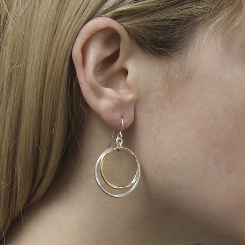 Marjorie Baer Double Hammered Hoop Earrings On Ear