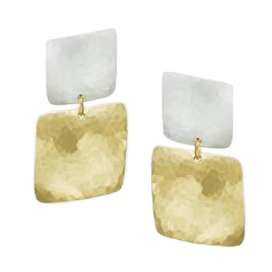 Marjorie Baer Earrings Textured Brass and Silver Squares