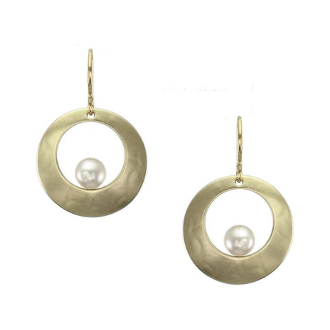 Marjorie Baer Cutout Disc Cream Pearl Earrings
