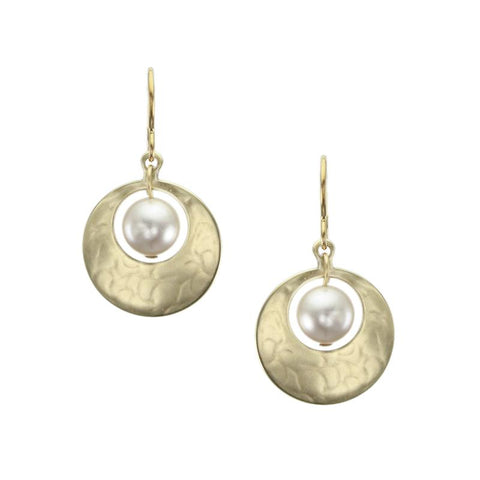 Marjorie Baer Small Cutout Disc Cream Pearl Earrings