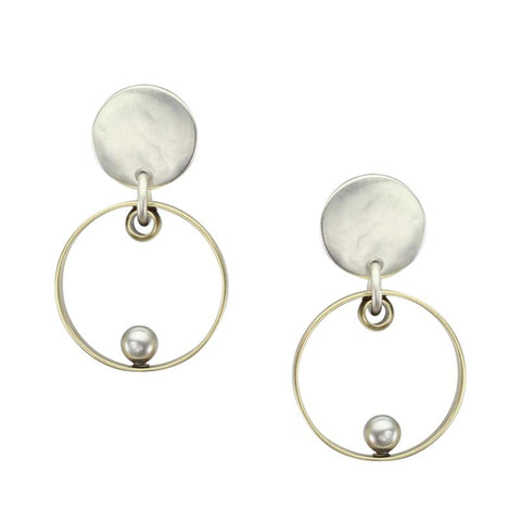 Marjorie Baer Thin Rim Disc Grey Pearl Post Earrings