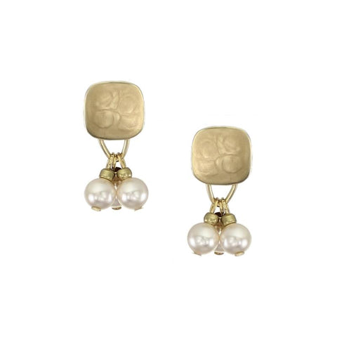 Marjorie Baer Rounded Square Cream Pearl Drop Earrings