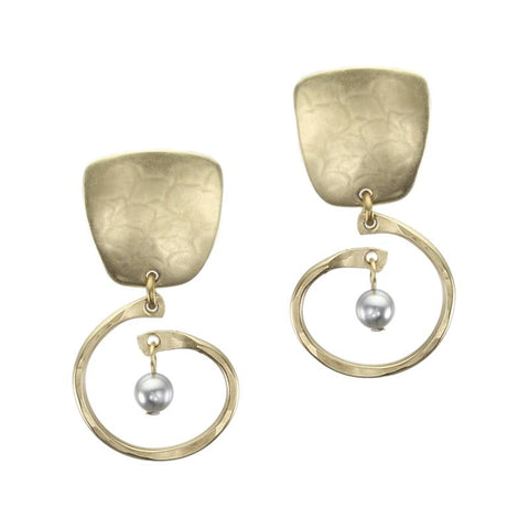 Marjorie Baer Brass Tapered Square Small Spiral Pearl Earrings