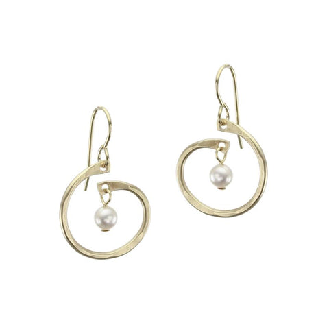 Marjorie Baer Small Spiral Cream Pearl Drop Earrings