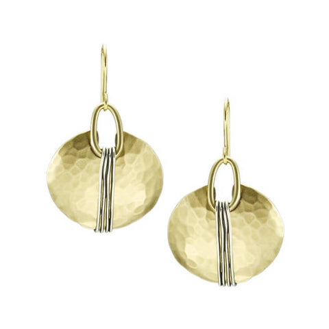 Marjorie Baer Gold Wire Wrapped Oval Earrings