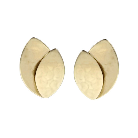 Marjorie Baer Golden Layered Leaves Clip Earrings