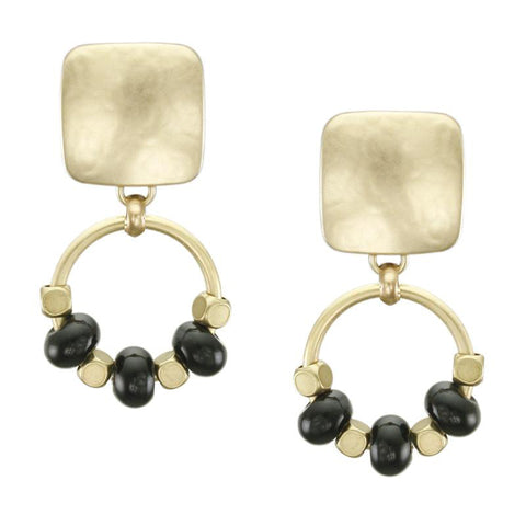 Marjorie Baer Golden Onyx Beaded Hoop Clip Earrings