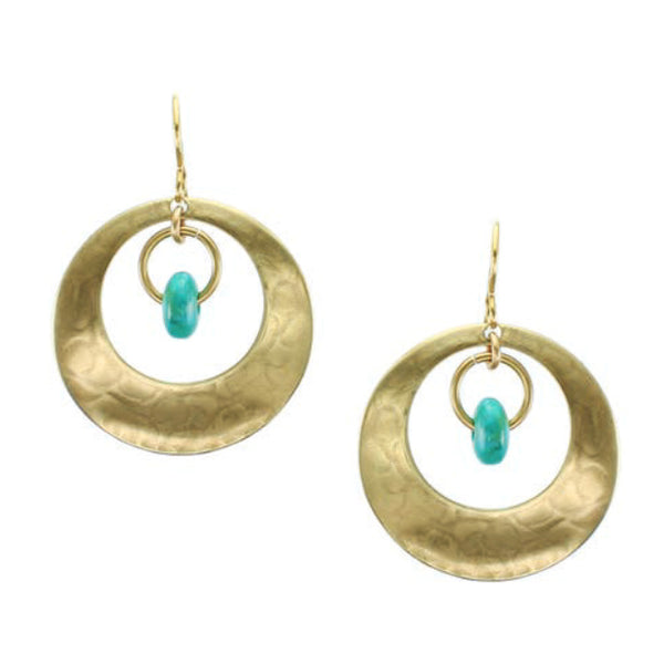 Marjorie Baer Hoop Turquoise Drop Earrings