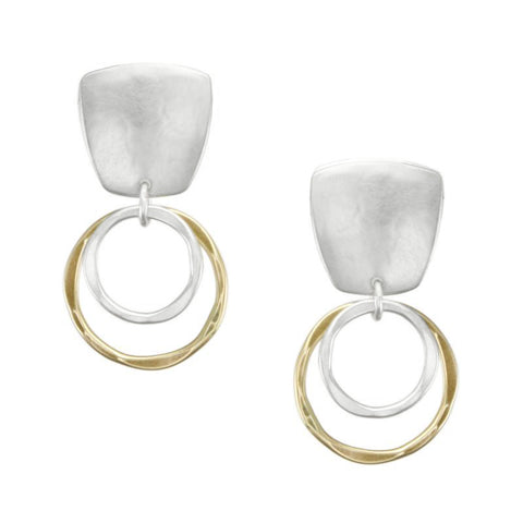 Marjorie Baer Earrings Post Or Clip Hammered Hoops