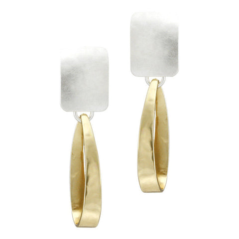 Marjorie Baer Clip Earrings Mixed Metal Drop