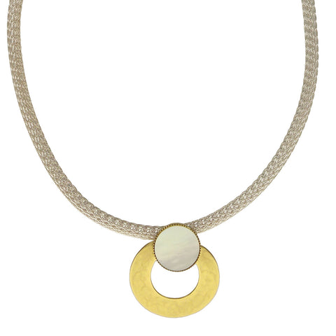 Marjorie Baer Mother Of Pearl Hoop Pendant Necklace