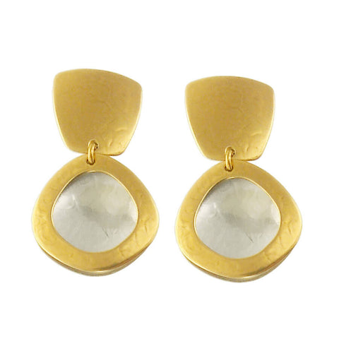 Marjorie Baer Organic Square And Circle Earrings