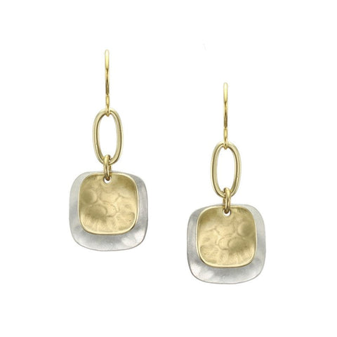 Marjorie Baer Layered Hammered Squares Earring