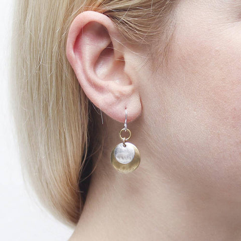 Marjorie Baer Ring With Layered Silver Gold Disc Earrings On Ear