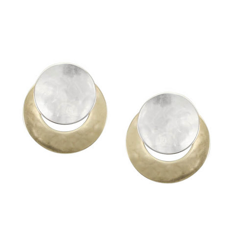 Marjorie Baer Round Silver Over Gold Earrings