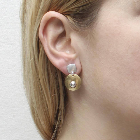 Marjorie Baer Rounded Square Bead Post Earrings On Ear