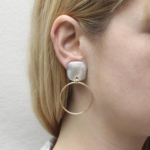 Marjorie Baer Rounded Square Single Gold Hoop Clip Earrings Another View