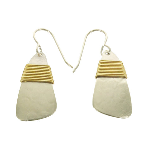 Marjorie Baer Silver Element With Gold Wrap Earrings