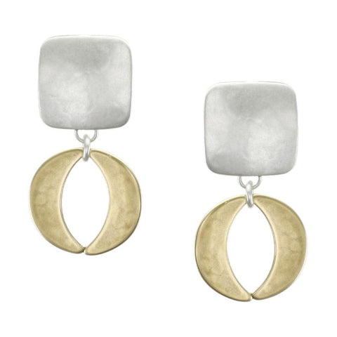 Marjorie Baer Silver Gold Double Crescent Clip Earrings