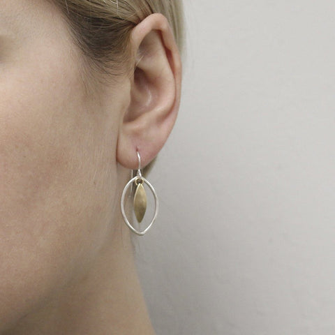 Marjorie Baer Small Leaf and Oval Ring Earrings Being Worn