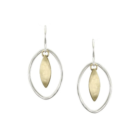 Marjorie Baer Small Leaf and Oval Ring Earrings
