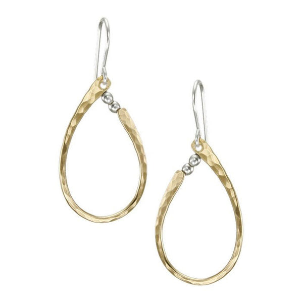 Marjorie Baer Silver Beads Gold Loop Earrings