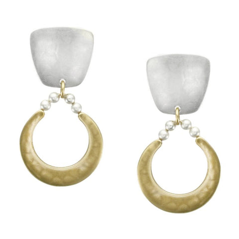 Marjorie Baer Tapered Square Beads Crescent Earring