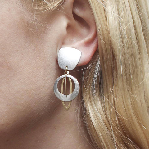 Marjorie Baer Tapered Square Cutout Disc Clip Earrings On Ear