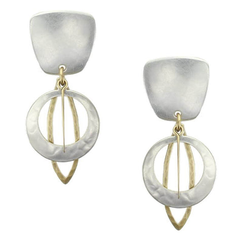 Marjorie Baer Tapered Square Cutout Disc Clip Earrings