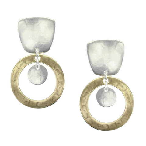 Marjorie Baer Tapered Square Hoop Disc Clip Earrings