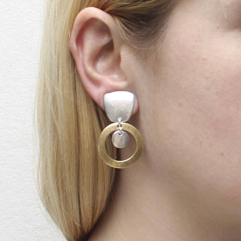 Marjorie Baer Tapered Square Hoop Disc Clip Earrings Ear View