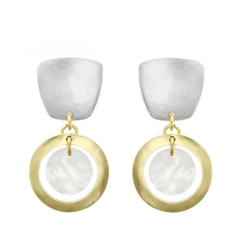 Marjorie Baer Tapered Square Post Hoop Earrings With Mother Of Pearl