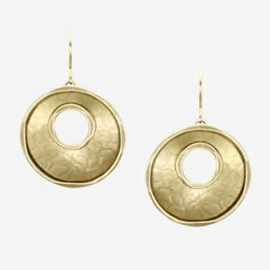Marjorie Baer Hammered Brass Cutout Hoop Earrings