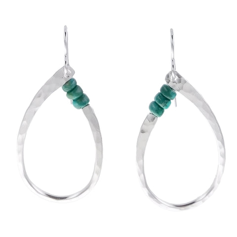 Marjorie Baer Three Bead Turquoise Oval Hoop Earrings