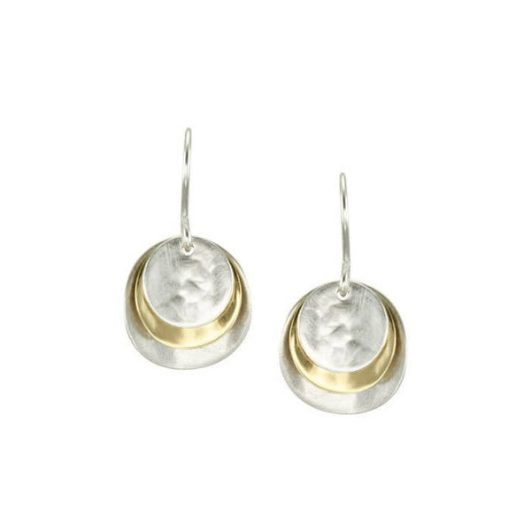 Marjorie Baer Stacked Mixed Metal Disc Earrings